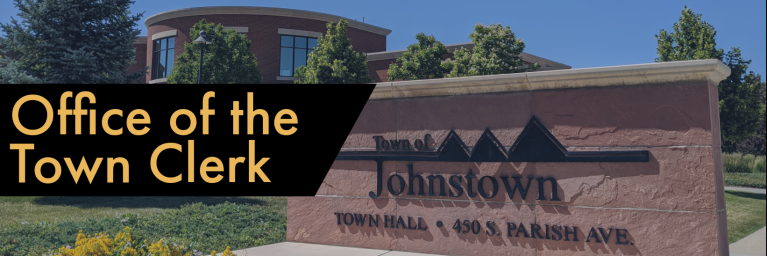 Decorative Header for Office of the Town Clerk (text) and image of Town Hall